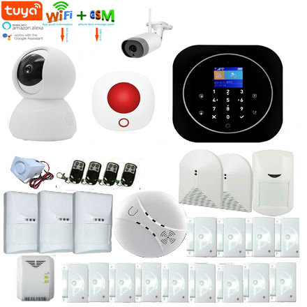 Yobang Security Tuya Wifi GSM Alarm System Kit Tuya APP Remote Control RFID Card Window/Door Pet PIR Motion Sensor Tuya Camera
