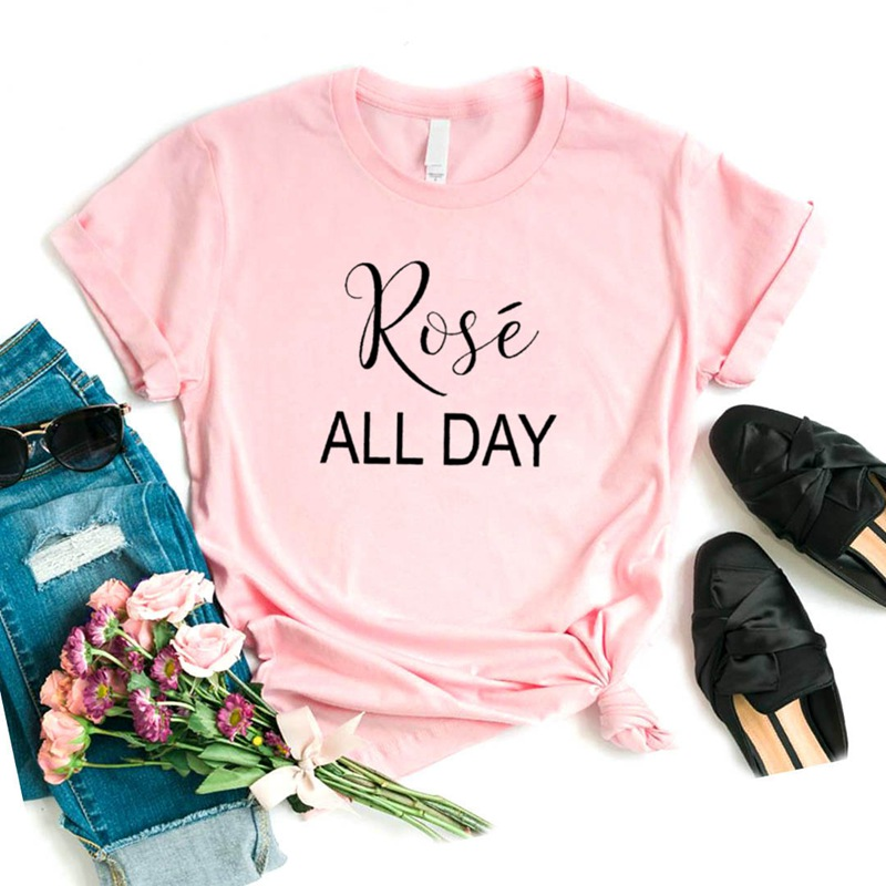 Rose All Day Print Women Tshirt Cotton Casual Funny T Shirt Gift For Lady Yong Girl Top Tee 6 Color Drop Ship S-970