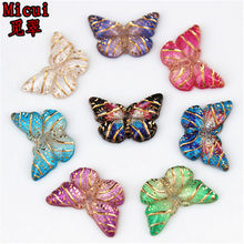 Micui 50pcs 10*15mm Colorful Butterfly Flat Back Rhinestone And Acrylic Stones Appliques DIY Wedding Scrapbook Accessories MC279