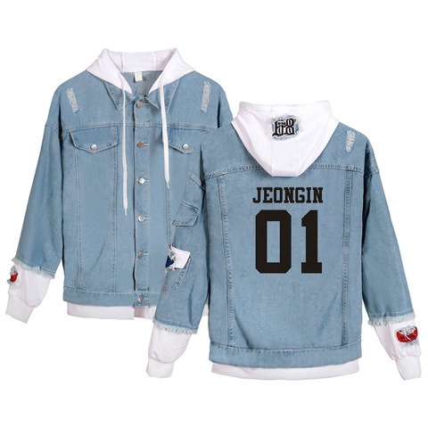 Harajuku Stray Kids Yellow Wood Jacket men/women Fashion Denim Jacket Spring Autumn Casual Women Slim Denim Jacket Pakistan