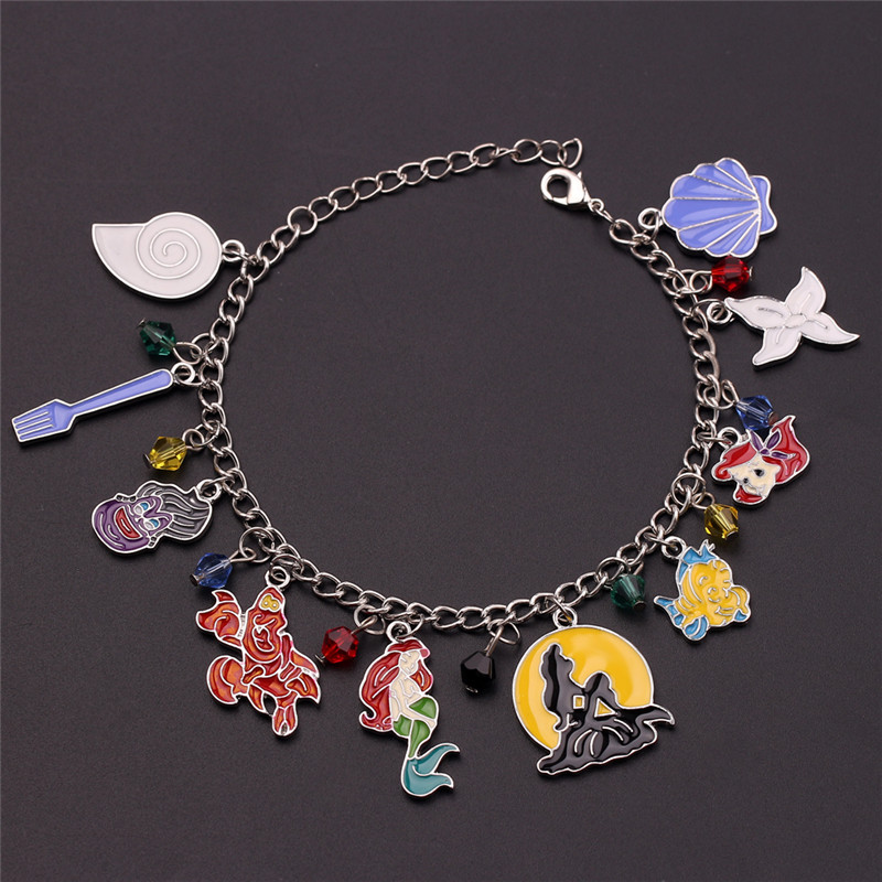 The little Mermaid Charm Bracelet for Women Conch Crab Coral Enamel Badge Crystal Beads Bracelet Femme Chain Pulseras Mujer