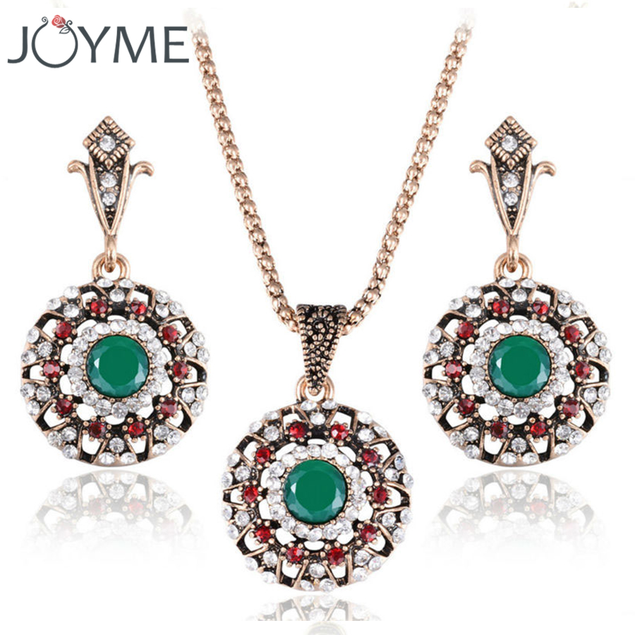 Vintage Crystal Turkish Jewelry Set Women's Earring Necklace Ancient Gold 2-Piece Luxury Accessories
