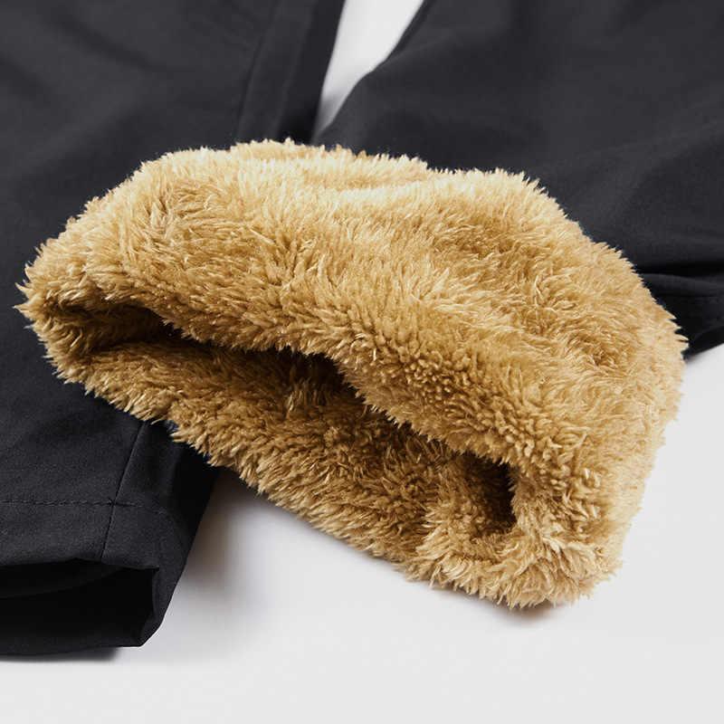8XL męskie sportowe ciepłe spodnie zimowe poza polarem do biegania zagęścić spodnie dresowe Zipper treningowe spodnie cargo Streetwear Men