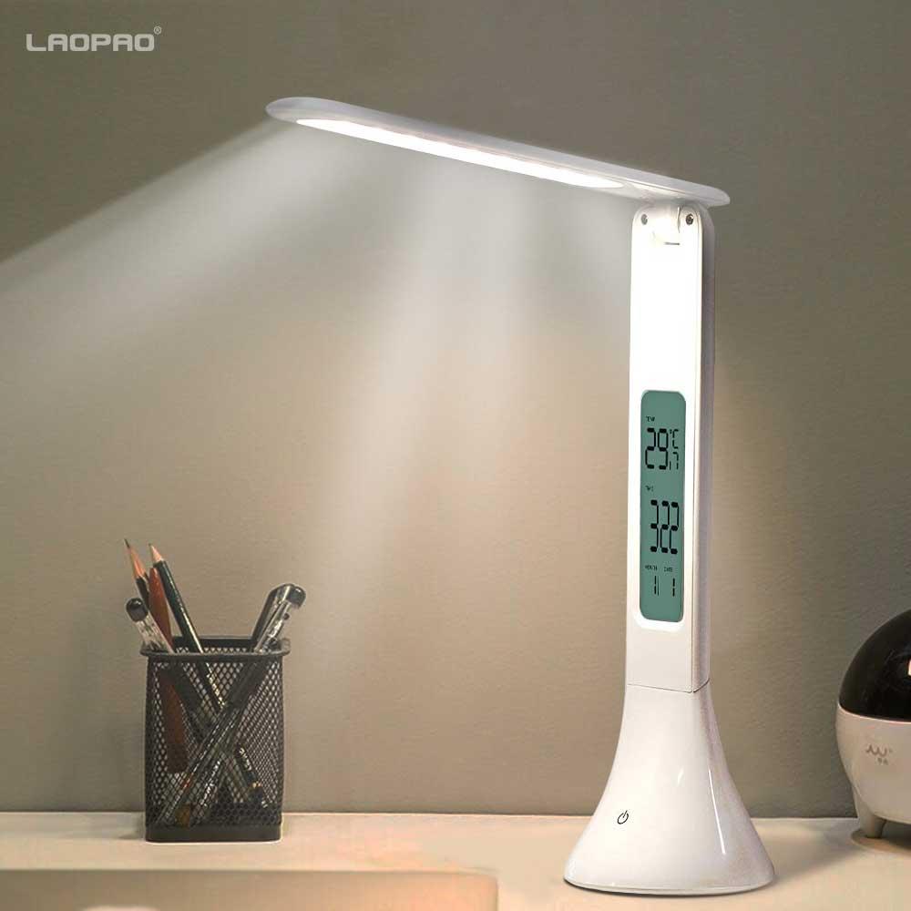 LED lampe de bureau pliable réglable tactile lampe de Table avec calendrier température réveil table lumière veilleuses LAOPAO