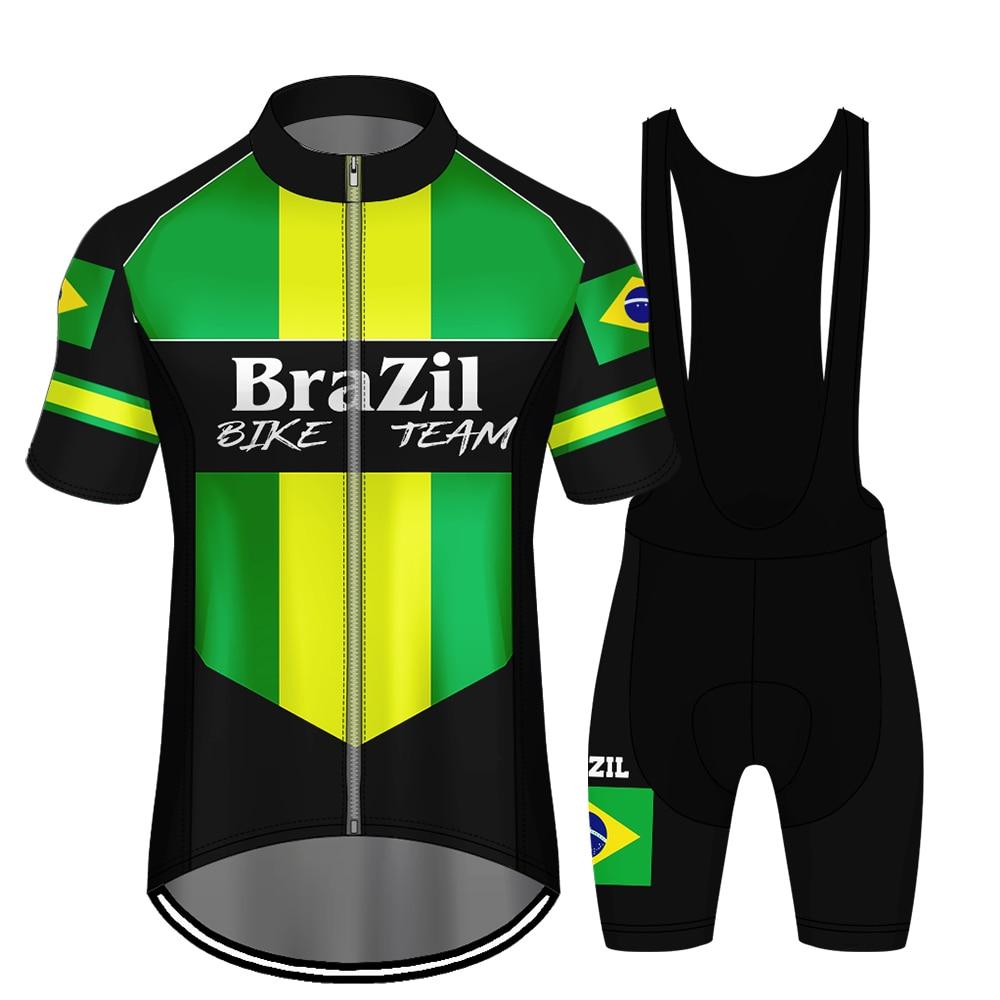 WAMNI Cycling Jersey Mountain Bike Wear Clothing Man Quick-Dry Brazil Bike Team Uniform Bicycle Short Sleeve Bike Accessories