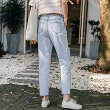 Лето, корейский стиль, простые, с высокой талией, свободные, необычные, большие, с дырками, прямые джинсы, женские, для папы, Капри