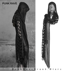 PUNK RAVE Women's Dark Gothic Female Scarf Caps Personality Fashion Girl Black Mesh Lace Knitted Wool with Hood Design Scarves