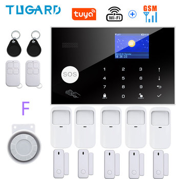 Tugard Tuya Wifi Gsm Home Burglar Security Alarm System 433MHz Apps Control LCD Touch Keyboard 11 Languages Wireless Alarm Kit 16