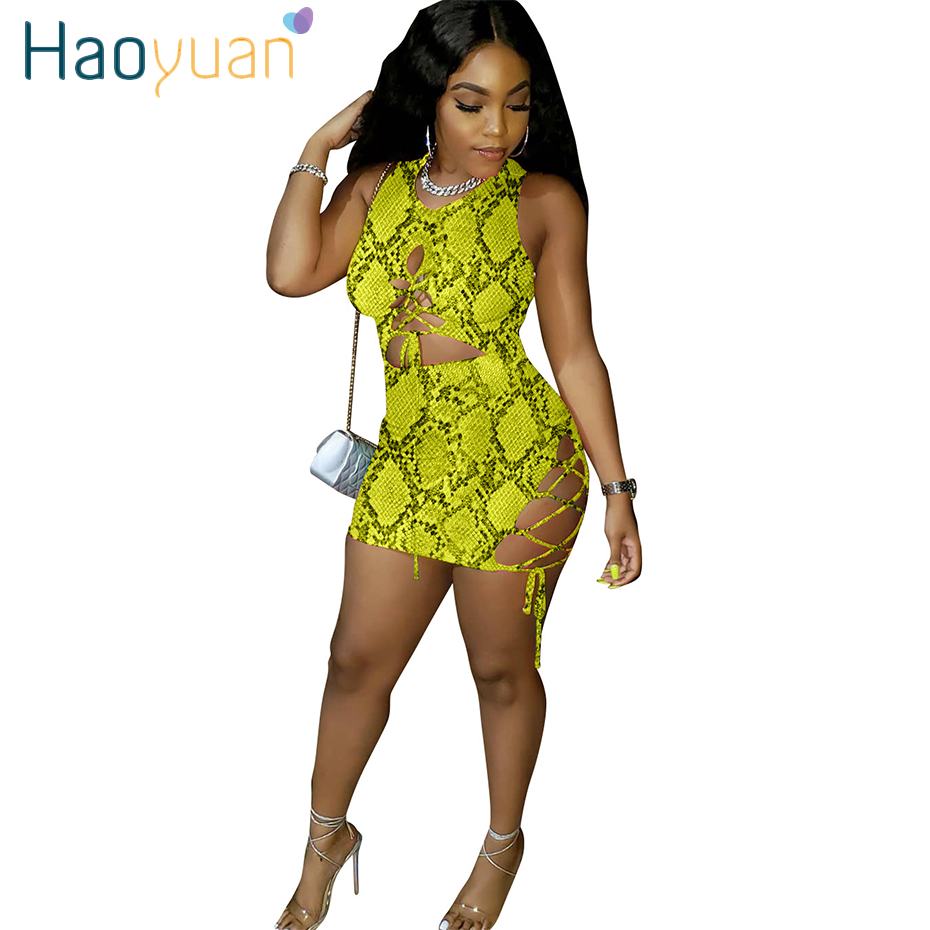 HAOYUAN Snake Print <font><b>Dress</b></font> <font><b>Women</b></font> Birthday Festival Clothes Vestidos Bodycon Short <font><b>Mini</b></font> Bandage <font><b>Dresses</b></font> Fashion <font><b>Sexy</b></font> Club <font><b>Dress</b></font> image