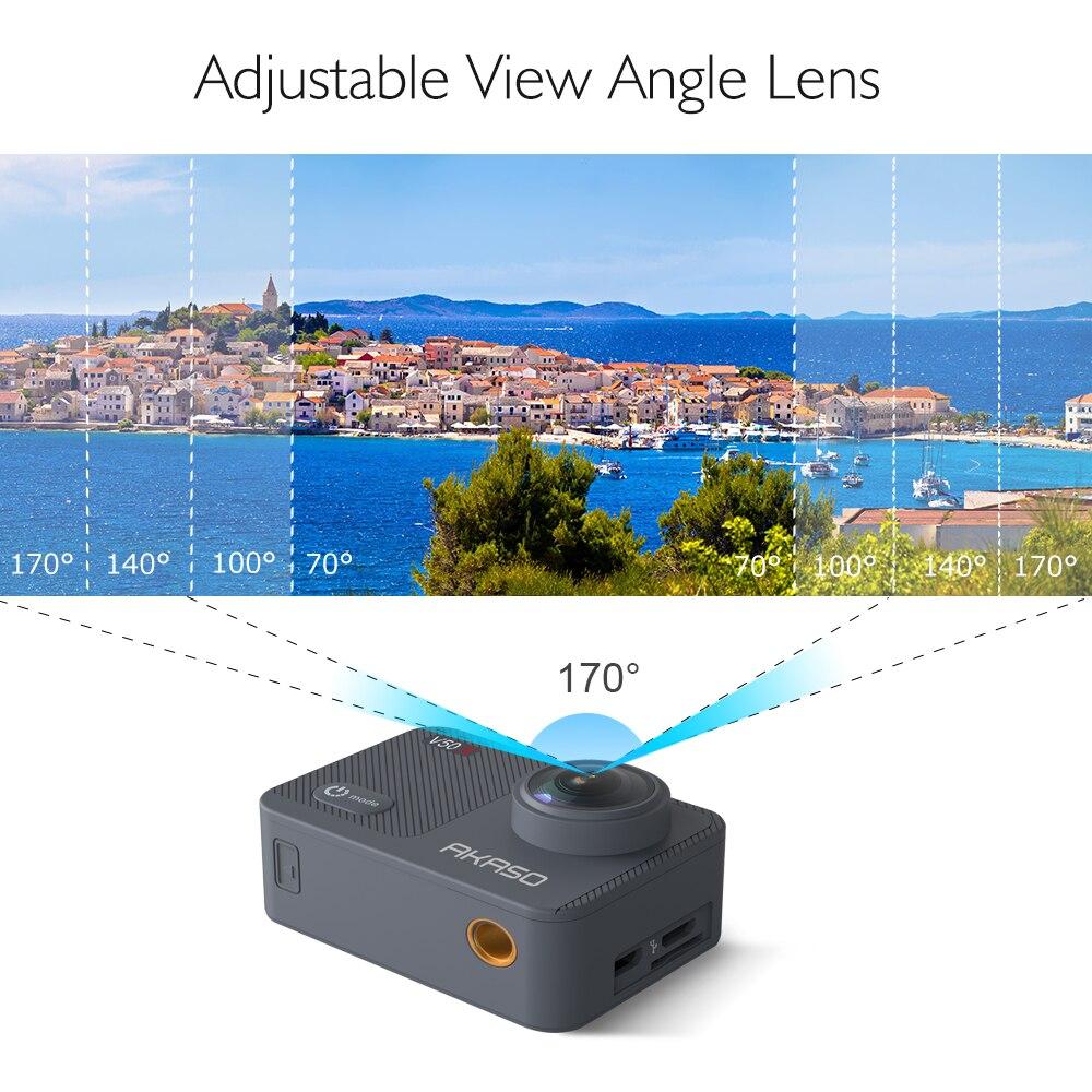 AKASO V50X natif 4 K/30fps WiFi caméra d'action avec 2 ''EIS écran tactile 131 pieds étanche caméra télécommande caméra de sport - 3