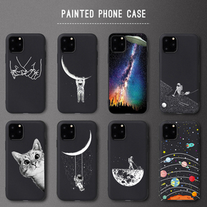 Smile Husky Dog Pattern Case For iPhone 6 7 8 Plus X XS Max XR 5S SE Case Space Planet Star Soft TPU Cover For iPhone 11Pro Case(China)