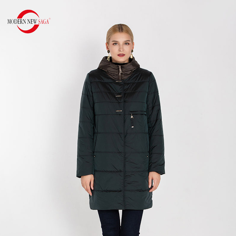 MODERN NEW SAGA 2020 Autumn Women Coat Hooded Cotton Padded Coat  Winter Long Jacket Ladies Parka Plus Size Winter Coat WomenParkas   -