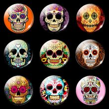 5PCS Sugar Skull Glass Cabochon 25mm Round Flat Back Jewelry Findings Diy Keychain Necklace Accessories