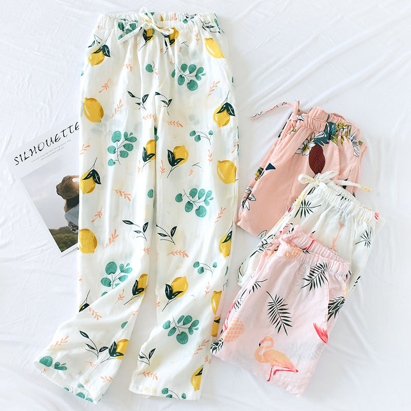 Women's 100% Cotton Summer Trousers Sleeping Pants Large Size Loose Home Pants Air Conditioning Pants Confinement Pants Spring A
