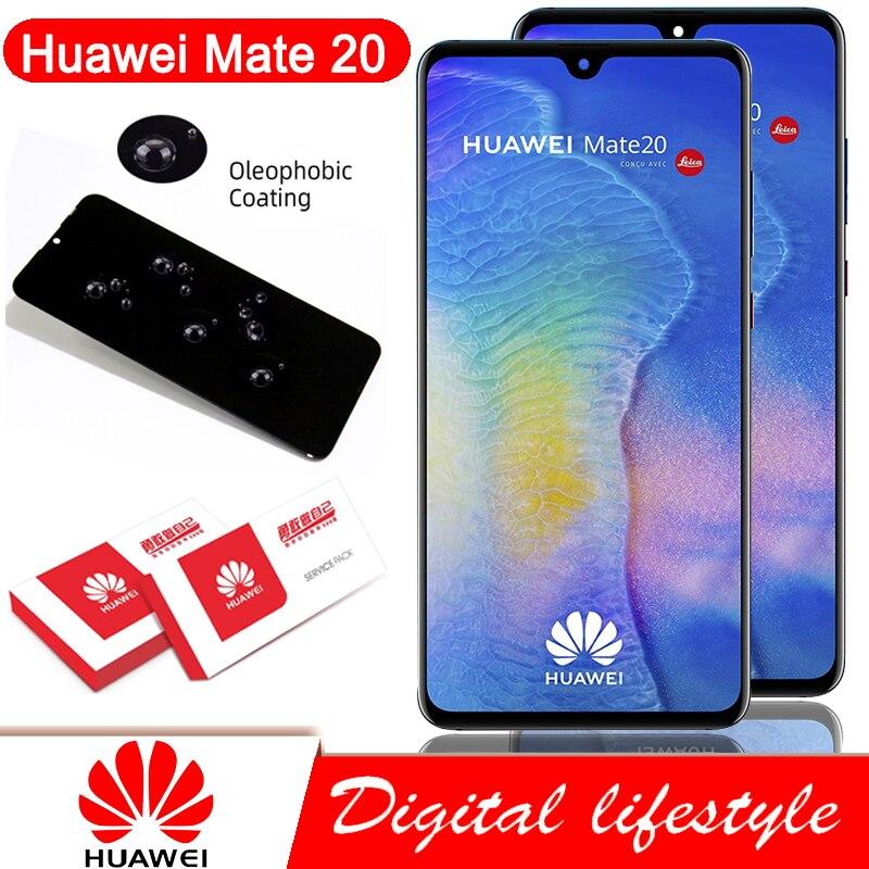 100% Оригинальный 6,53 ''дисплей с рамкой для Huawei Mate 20 HMA-l29 HMA-l09 LCD сенсорный экран дигитайзер в сборе запасные части