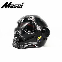 Masei Iron Man helmet motorcycle Vintage Retro helmet half helmet open face helmet casque Motocross Off Road Touring helmet star masei 610 top abs moto biker helmet ktm iron man personality special fashion half open face motocross helmet matt black