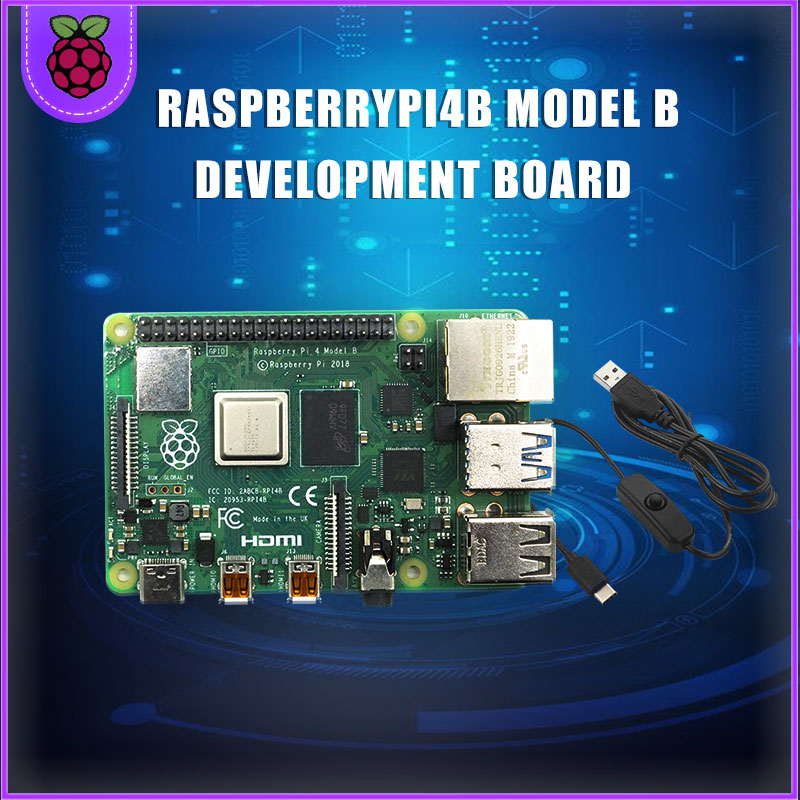 Raspberry Pi 4 Model B LPDDR4 2G/4G Quad-core Cortex-A72 (ARM V8) 64-bit 1.5Ghz Dual 4K HDMI Output Power Than 3B+ USB Cable
