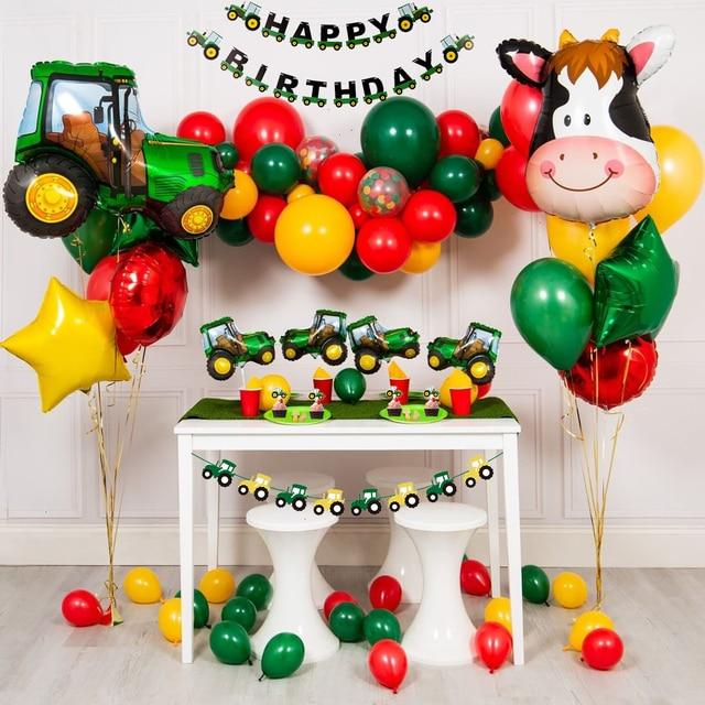 1 zestaw Farm Theme Building Vehicle baner urodzinowy koparka samochodowa ciągnik ozdoba na wierzch tortu strona dekoracji balonik urodzinowy