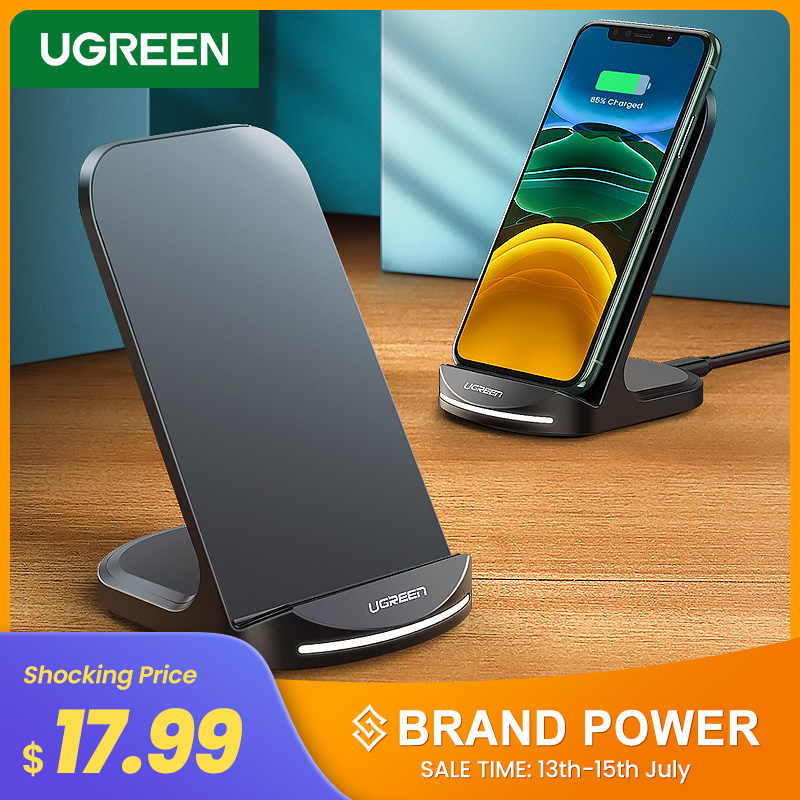 Ugreen צ 'י אלחוטי מטען Stand עבור iPhone 11 פרו X XS 8 XR סמסונג S9 S10 S8 S10E מהיר אלחוטי תחנת טעינת טלפון מטען