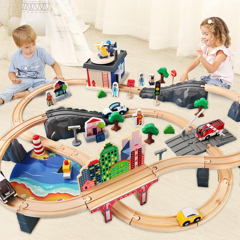 Pulzze Wooden Trains Track Toy Set