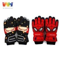 Детские лыжные перчатки с изображением Человека-паука из Южной Кореи, лыжные перчатки с изображением Железного человека, спортивные водонепроницаемые ветрозащитные зимние теплые варежки для мальчиков