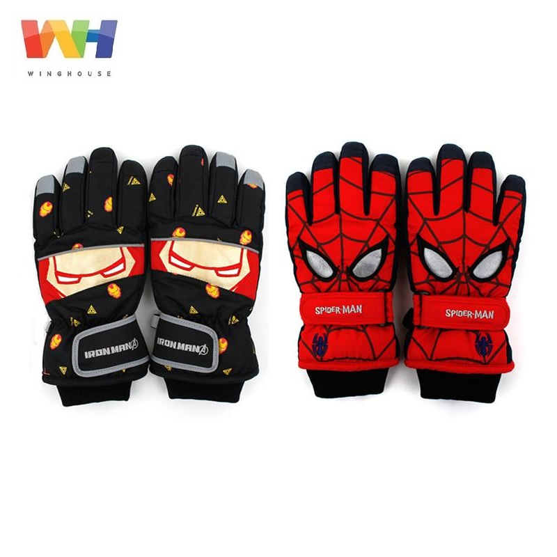 South Korea Winghouse Children Gloves Spider Man Face Iron Man Ski Gloves Boy Sports Waterproof Windproof Winter Warm Mittens