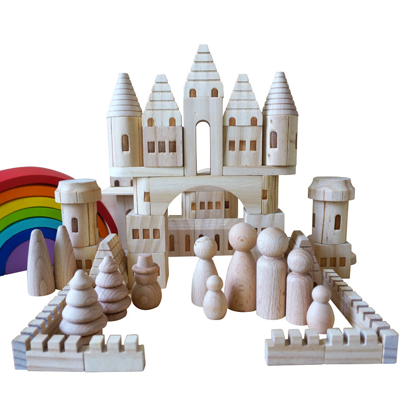 66/75pcs/box Children Original Wooden Castle Building Blocks/Kids Log Wooden Construction House Block DIY Painting Toy