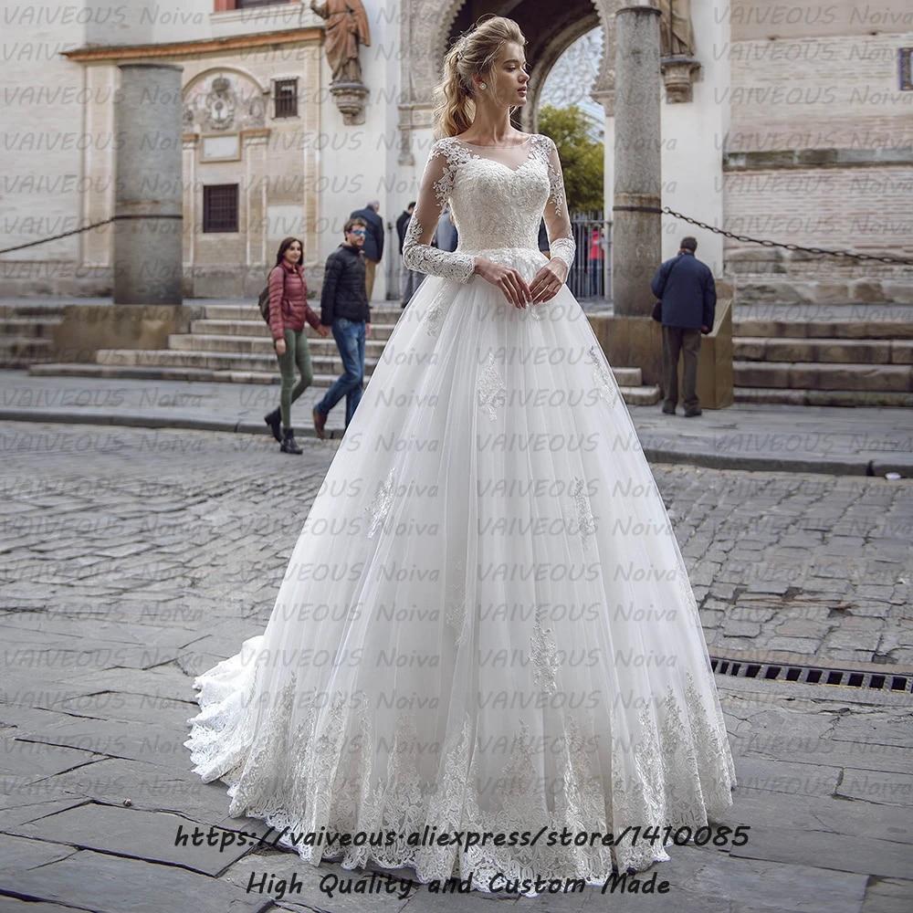 Sexy Back Appliques Bridal Dresses Vintage Lace Long Sleeve Wedding Dress  20 Hochzeitskleid A Line Princess Wedding Gowns