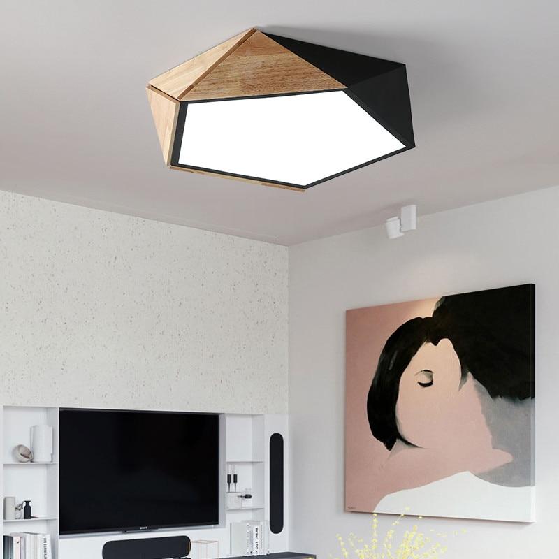 Nordic Bedroom Led Light Ceiling Wood Kitchen Gold Geometric Led Ceiling Light Lamp Dimmable Remote Control 110V 220V Lighting