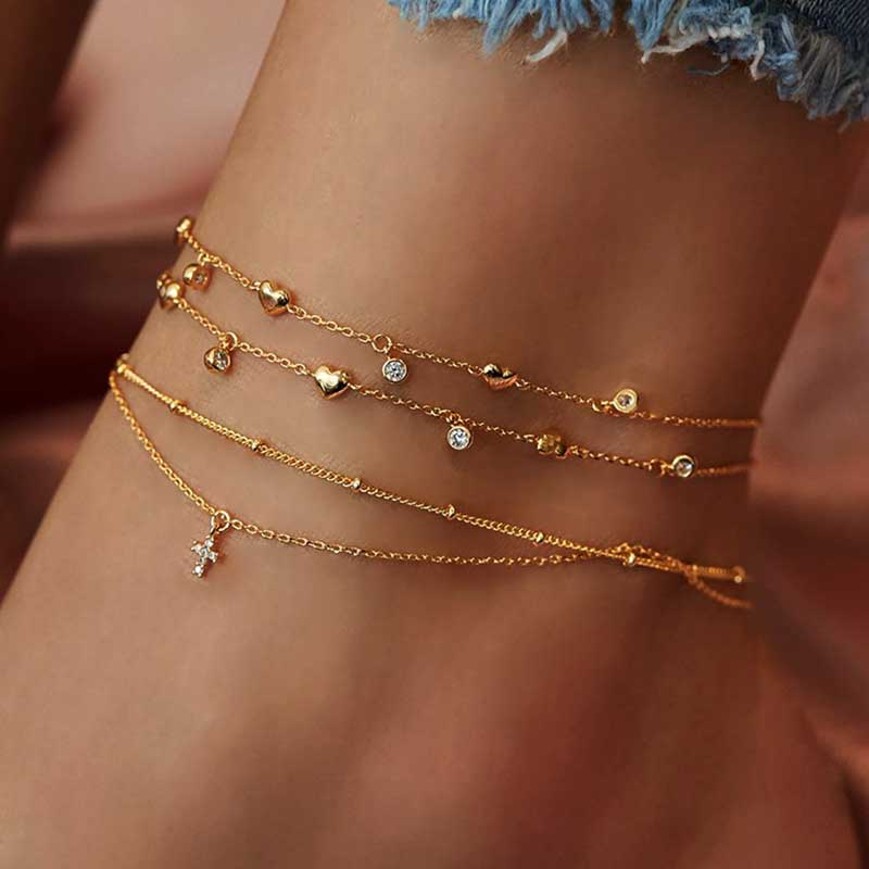 Vienkim New Vintage Cross Pendant Heart Anklets For Women Multilayers Beads Chain Anklet 2020 Bracelet on Leg Foot Beach Jewelry