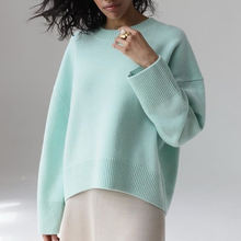 Элегантный осенний свитер для женщин 2020 однотонный вязаный