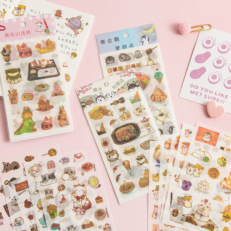 Gourmet Temptation Cat Penguin Bullet Journal Decorative Stationery Stickers Scrapbooking DIY Diary Album Stick Lable