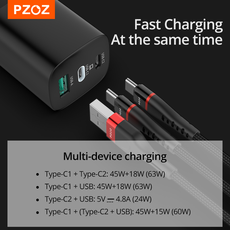 PZOZ 65W GaN Charger Quick Charge 4.0 3.0 Type C PD USB Charger Fast Charging USB-C For Switch MacBook Air iPad Pro Samsung Note
