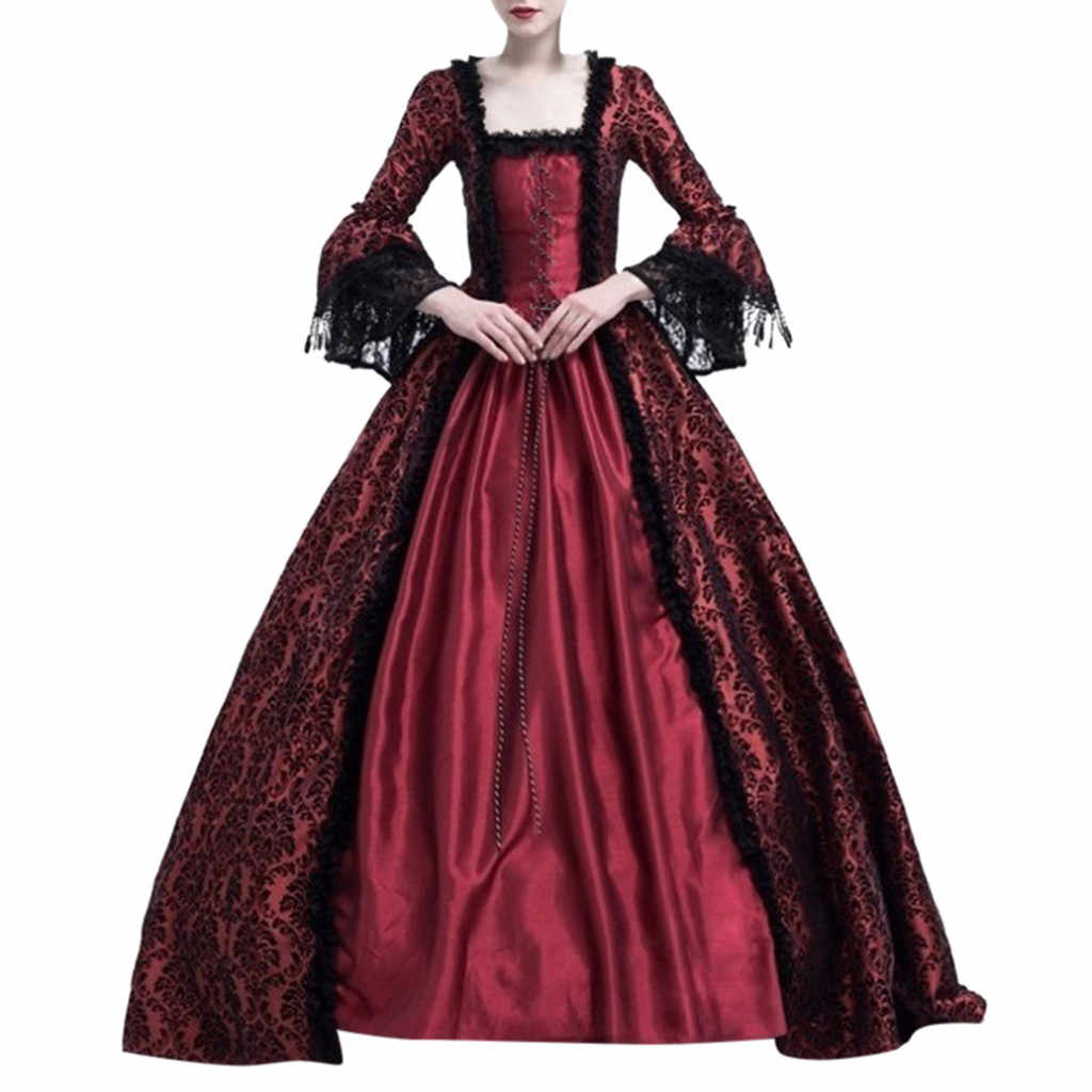 Mode Frauen Kleid Retro Medieval Party Prinzessin Renaissance Cosplay Spitze Bodenlangen Casual Winter Party Kostüm Frauen Kleid