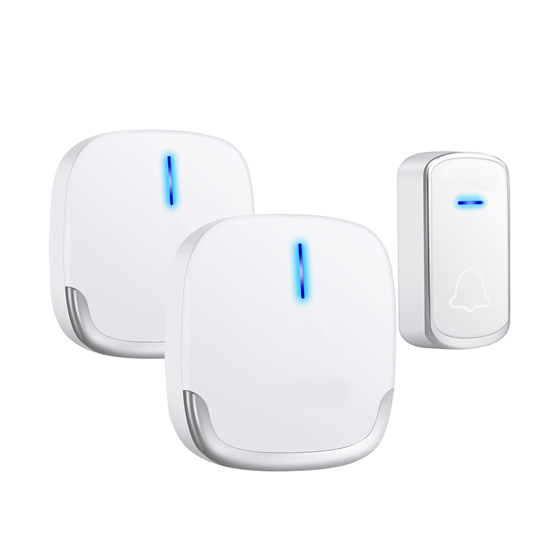 Wireless Doorbell Waterproof 280M Range Smart 58 Melody Ring Door Bell 1 Push Doorbells Button + 2Receivers Vc100-240V(Us Plug)