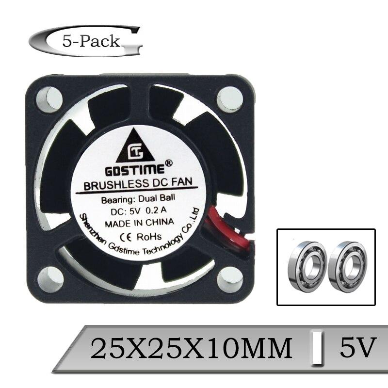 5 Pcs Gdstime 25mm 25x25x10mm 5V Dual Ball Mini Micro DC Brushless Cooler Fan 2.5cm 2510 XH2.54-2P Cooling Fan