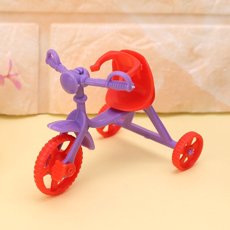 Doll Tricycle With Push Handle Kids Miniature Mini Toys Children Gifts Dollhouse Accessories Plastic Play Home Game Toy Y4QA