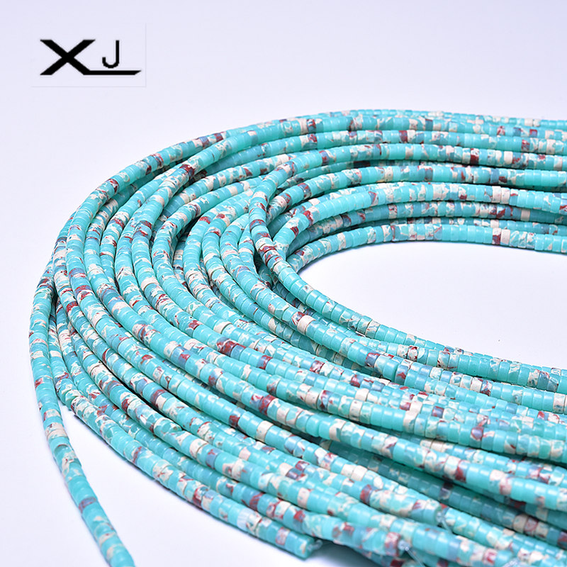 XJ Natural Wheel Stone Beads Colorful Spacer Beads 38cm a Strand 4mmx8mm Beads For Jewelry Making DIY Bracelet in Beads from Jewelry Accessories