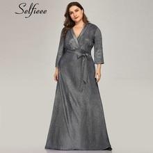 Plus Size Sparkle Navy Blue Women Dresses A-Line V-Neck Bow Sashes Sexy Autumn Elegant Maxi Party Jurken Zomer