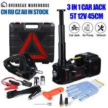 3 in 1 Auto Jack 5T 12v Elektrische Hydraulische Wagenheber Reifen Inflator Pumpe LED Licht Elektrische Auswirkungen schlüssel Auto Reparatur Werkzeug 45cm
