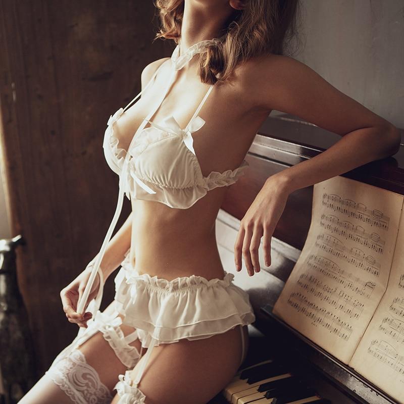 Womens Sexy Chiffon Lingerie Set Lolita Ruffle Underwear Panties Bondage Kawaii Nightwear Caitsuit Costume Open Bra Garter Set