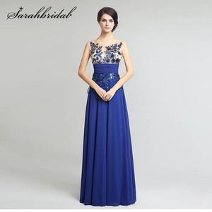 Image 1 - אורך קיר אלגנטי פורמליות ערב שמלות שיפון ארוך מפלגת שמלות עם אפליקציות נצנצים מכירה לוהטת SD159
