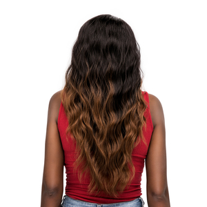 Image 5 - Synthetic Hair Lace Front Wigs Free Part X TRESS Ombre Brown Black Color Long Natural Wave Trendy Lace Hair Wig For Black Women