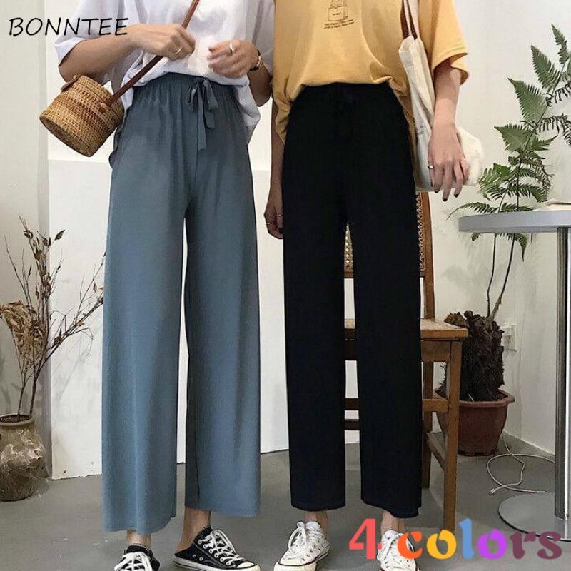 Pants Women Summer Thin Korean Chic High Waist Femme Casual Wide Leg Pant All-match Solid Elegant Soft Oversized Lady Capris 3XL