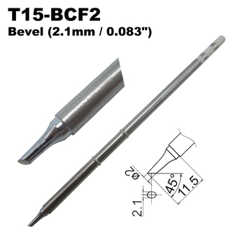 T15-BCF2 Bevel 2.1mm Soldering Tip for HAKKO FX-951 FX-950 FX-952 FX-9501 FM-2028 FM2027 Iron Handle Bit Nozzle Replacement image