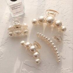 Fashion Big Rhinestone Hairpins for Women Pearl Hair Clips Crab Hair Claws for Girls Barrettes Headwear Hair Pins Accessories