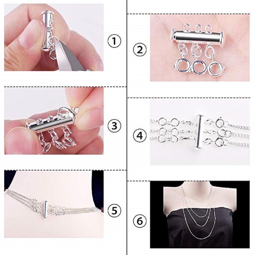 6Pcs Magnetic Slide Lock Clasps Multi Strand for Necklace Bracelet DIY Craft