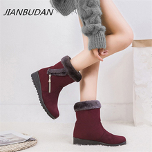 JIANBUDAN Big size Winter platform snow boots Plush warm womens cotton shoes Faux suede plush New 2020
