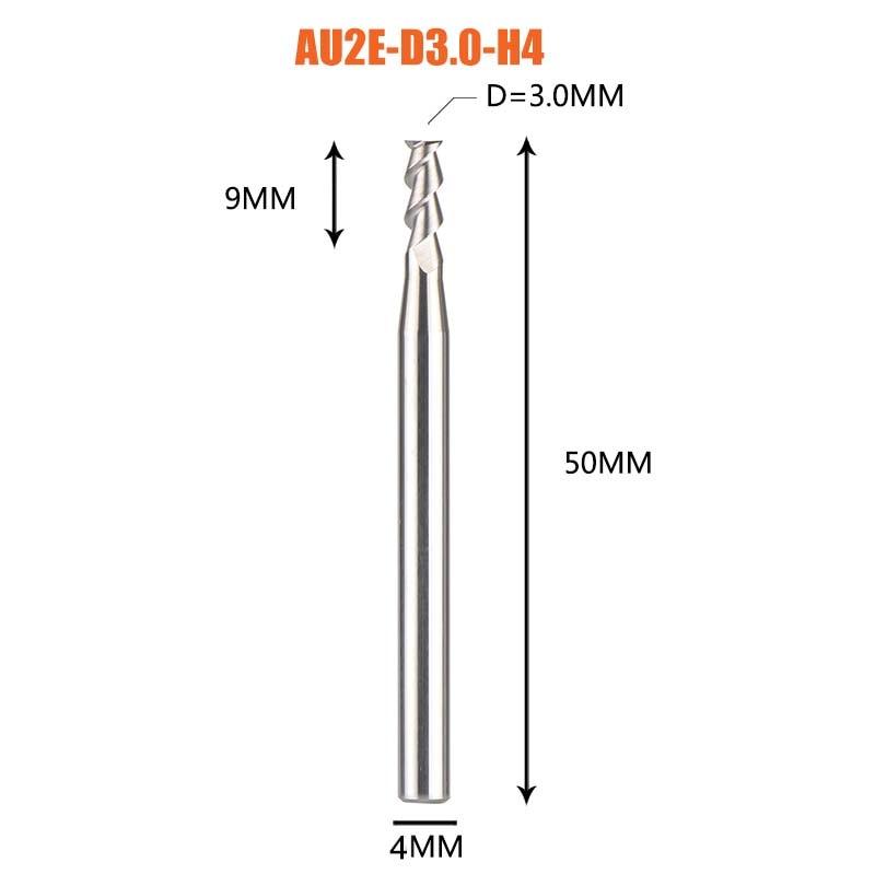 1 pc 3 флейты фрезы вольфрамового сплава концом ЧПУ фреза алюминий фреза для алюминия и деревообрабатывающие - Длина режущей кромки: 1PC-AU2E-D3.0-H4