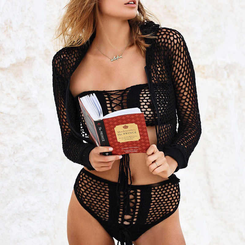 Renda Buatan Tangan Hippie Bikini Dibungkus Dada Pantai Baju Renang Yoga Pakaian Dalam Wanita Pakaian